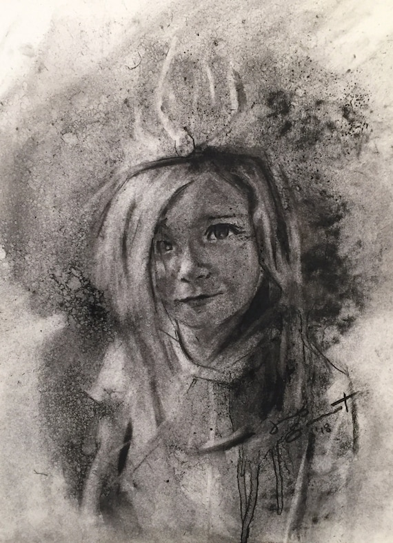 """""""Untitled - Victor Fair Demo"""" - 12""""x9"""" - Charcoal on Paper"""