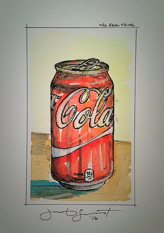 "Regular Coke - ""The Real Thing"" - 5""x3""on 7""x5"" - Watercolor/Ink on Illustration Board"