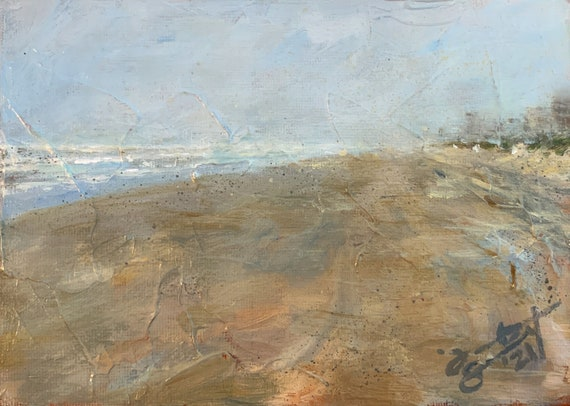 """Misty Morning - South Padre Island"" - 5""x7"" - Acrylic on Panel"