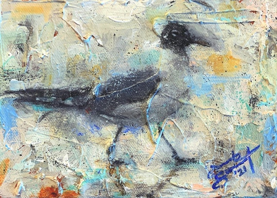 """""""Laughing Gull"""" - 5""""x7"""" - Acrylic on 1 1/2"""" Gallery Wrapped Canvas"""