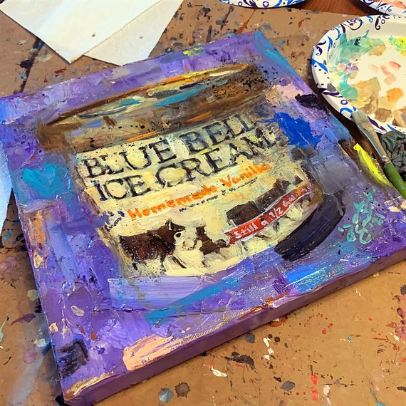 """""""Blue Bell - Homemade Vanilla"""" - 12""""x12"""" - Original Painting on Canvas by Jacob Secrest"""