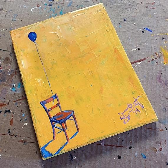 """Empty Chair - 10""""x8"""" - Acrylic on Canvas"""