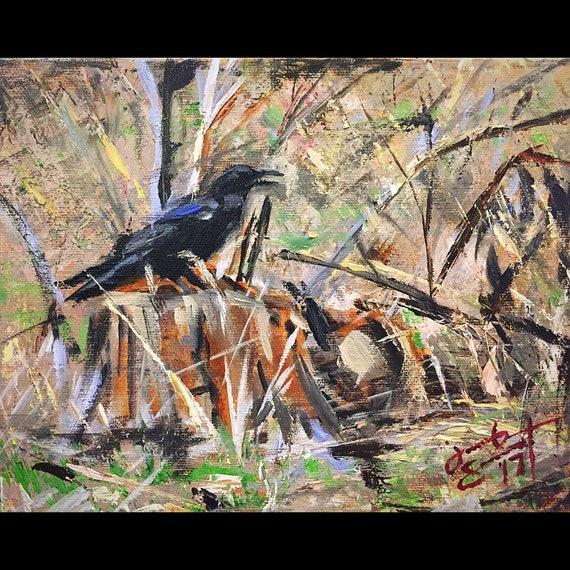 """Raven at Zion National Park"" - 8""x10"" - Acrylic on Canvas"