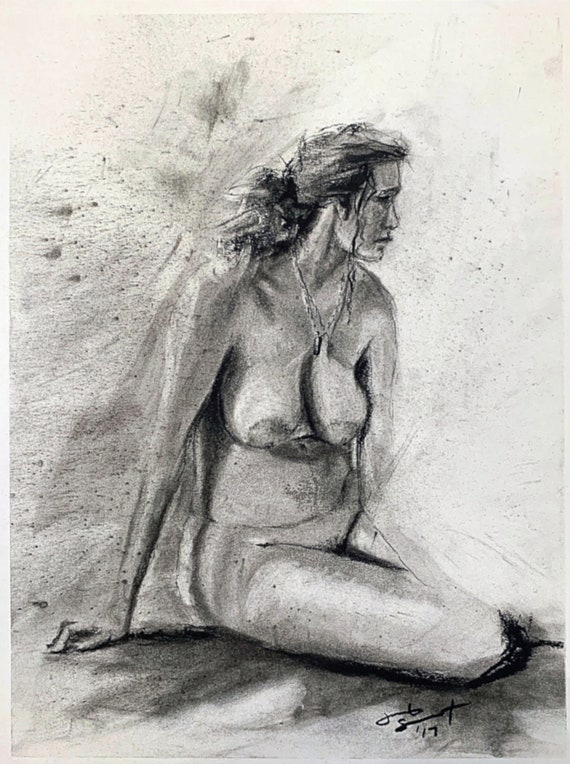 """""""Life Drawing - Seated Figure Study"""" - 12""""x9"""" - Charcoal on Paper"""