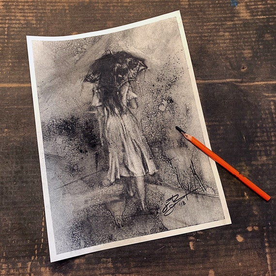 "Untitled-Umbrella Girl - 12""x9""- Charcoal on Paper"