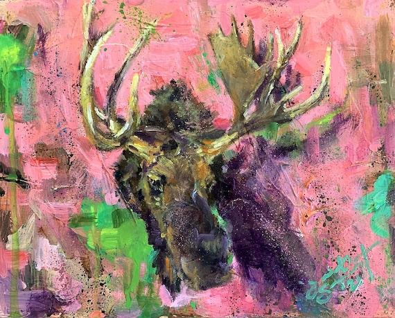 """Untitled - Moose - Juniper Mountain Ranch"" - 8""x10"" - Acrylic on Board"