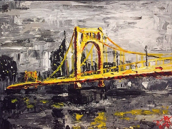 Roberto Clemente Bridge in Pittsburgh - 12x16 - Acrylic on Canvas