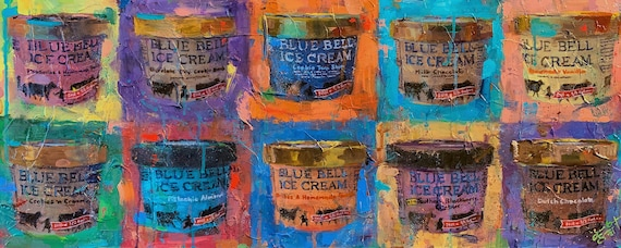 """""""Blue Bell - Collage"""" - 16""""x40"""" - Original Painting on Canvas by Jacob Secrest"""