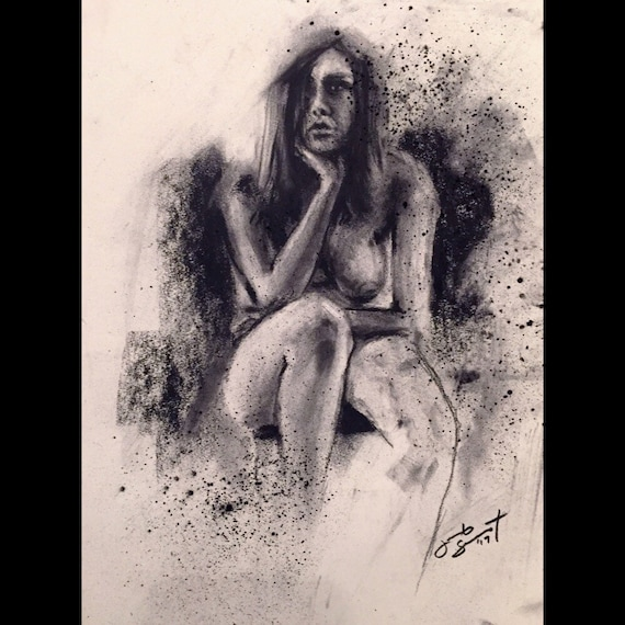 """Life Drawing - Figure Study"" - 12""x9"" - Charcoal on Paper"