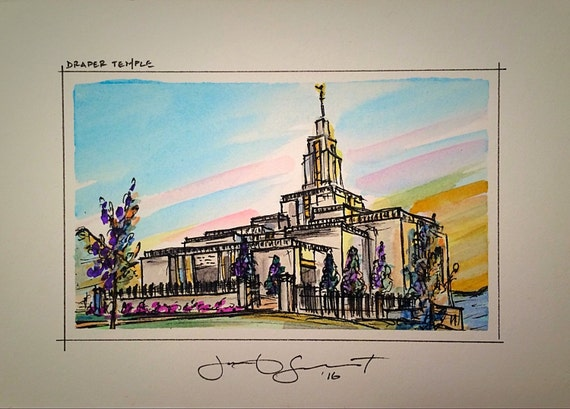 "Draper Temple - 3""x5"" on 5x7"" - Watercolor/Ink on Illustration Board"