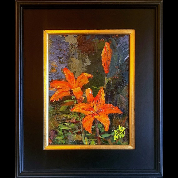 "Flowers - Tigerlillies - 12""x9"" - Art Original Acrylic Painting - Acrylic & Palette Knife on Board by Jacob Secrest"