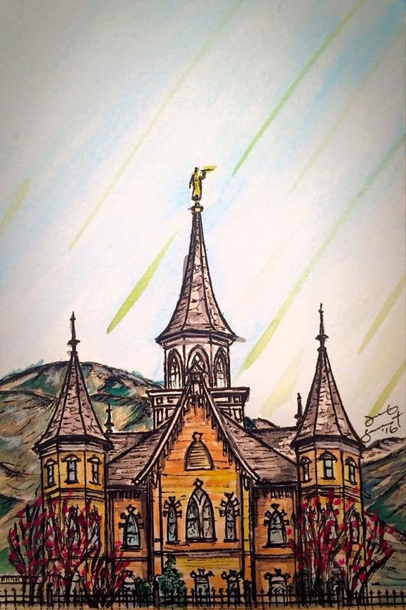 "Provo City Center Temple #3 - 7""x5"" - Watercolor/Ink on Paper"