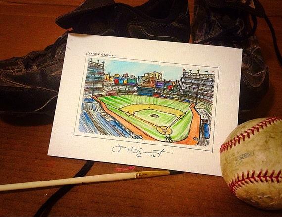 "Yankee Stadium - 3""x5"" on 5""x7"" - Watercolor/Ink on Illustration Board"