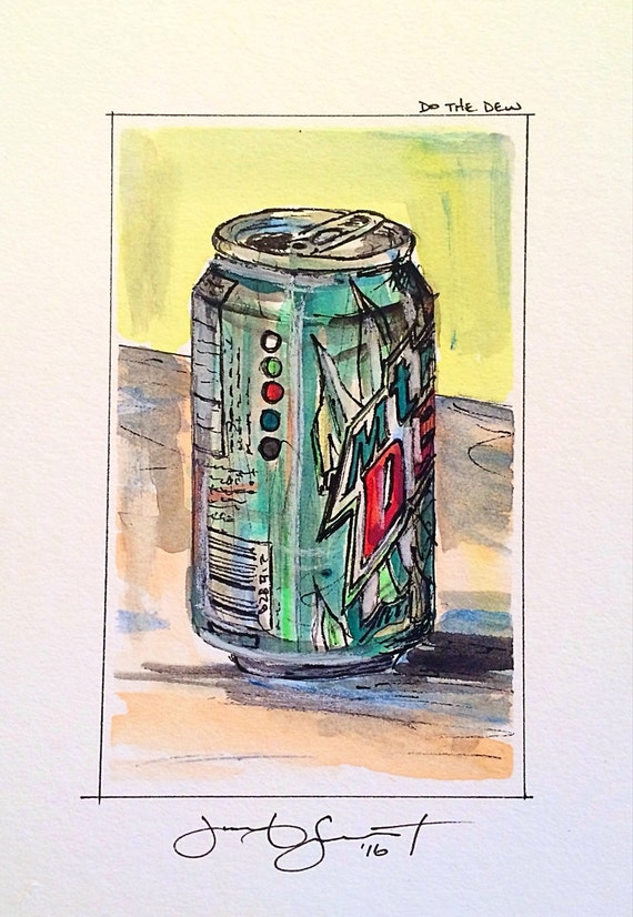 "Mt. Dew - ""Do the Dew"" - 5""x3"" on 7""x5"" - Watercolor/Ink on Illustration Board"