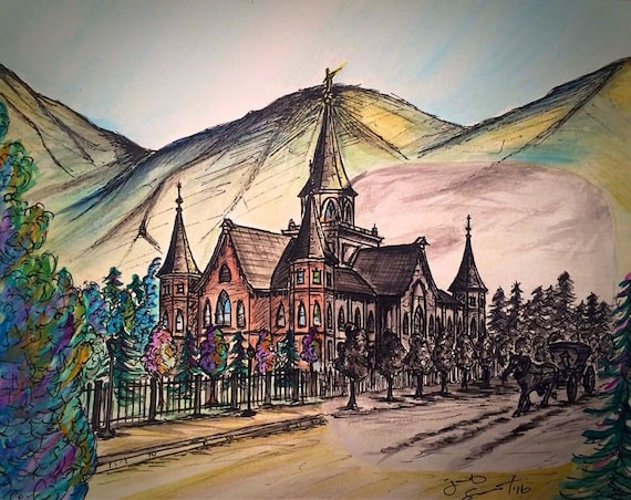 """Provo City Center Temple w/ a Glimpse from the Past - 8""""x10"""" - Watercolor/Ink on Paper"""