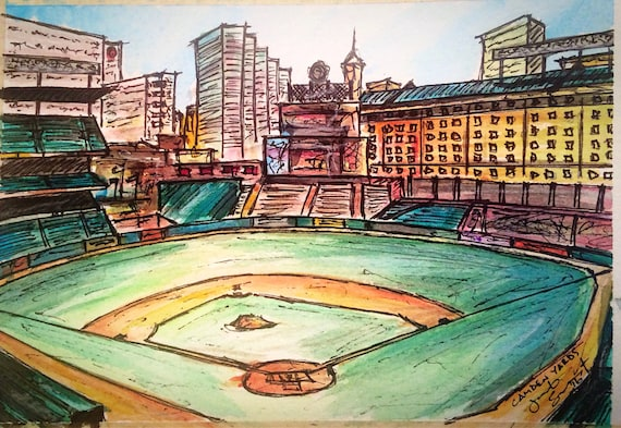 """Remake - Camden Yards - 5""""x7"""" - Watercolor/Ink on Paper"""