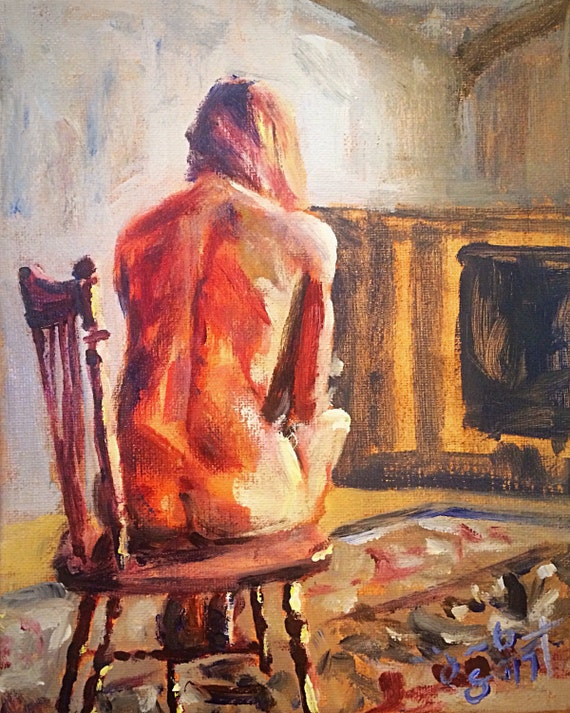 """Figure Study in Chair - Model R."" - 10""x8"" - Acrylic on Canvas"
