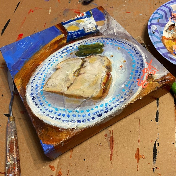 """Still-Life Painting - Lunch - 8""""x8"""" - Acrylic on Gallery Wrapped Canvas"""