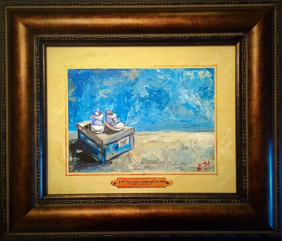 """'For Sale, Baby Shoes, Never Worn' - Ernest Hemingway"" - 11""x14"" - Framed Acrylic on Board"