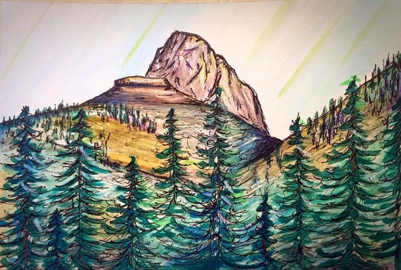 """Table Rock - 5""""x7"""" - Watercolor/Ink on Paper"""