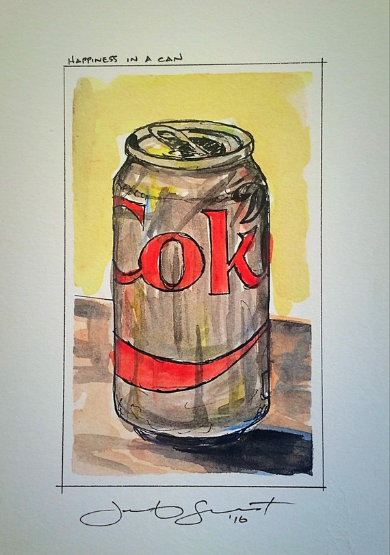 "Remake - Diet Coke - Happiness in a Can - 5""x3""on 7""x5"" - Watercolor/Ink on Illustration Board"