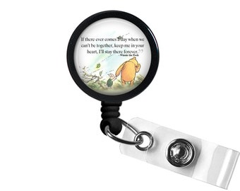 Winnie The Pooh Quote 3 Photo Glass / Bottle Cap Retractable ID Badge Reel