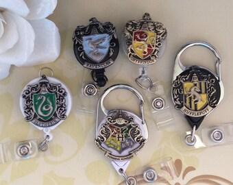 Retractable ID Badge Reel,Ravenclaw Nurse Badge Reel, Carabiner Badge Reel,Lanyard, 5 Designs To Choose From