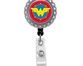 Wonder Woman Logo Symbol DC Photo Glass / Bottle Cap Retractable ID Badge Reel