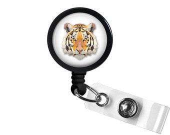 Geometric Tiger Photo Glass / Bottle Cap Retractable ID Badge Reel