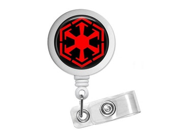 Sith Empire Symbol Star Wars Inspired Photo Glass / Bottle Cap Retractable ID Badge Reel