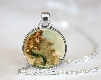 Mermaid Glass Pendant, Photo Glass Necklace, Glass Keychain, Glass Jewelry