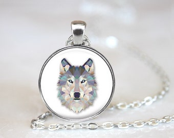 Geometric Wolf Glass Pendant, Photo Glass Necklace, Glass Keychain, Glass Jewelry