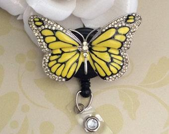 Rhinestone Yellow Butterfly Retractable ID Badge Reel, Nurse Badge Reel