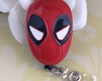 Deadpool Mask Retractable ID Badge Reel, Nurse Badge Reel