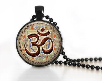 Ohm Yoga Meditation Glass Pendant, Photo Glass Necklace, GlassKeychain