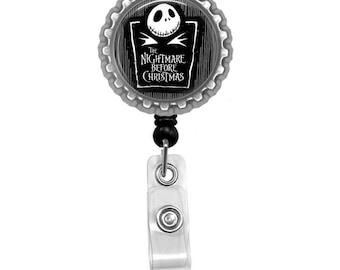 Jack Skellington Photo Glass/ Bottle Cap Retractable ID Badge Reel, Nurse Badge Reel
