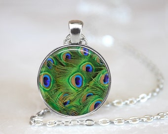 Peacock's Feather Glass Pendant, Photo Glass Necklace, Glass Keychain, Glass Jewelry