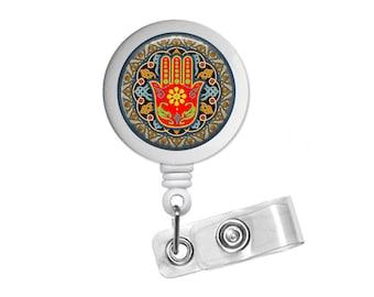 Hamsa Photo Glass / Bottle Cap Retractable ID Badge Reel