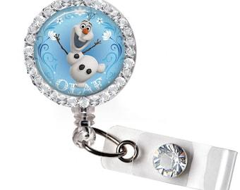Rhinestone Frozen Olaf Bottle Cap Retractable ID Badge Reel, Nurse Badge Reel, 8 Colors To Choose From