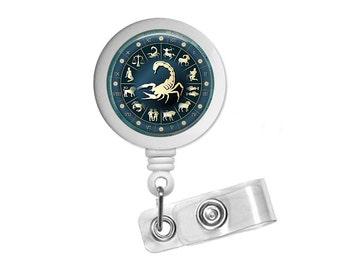 Zodiac Sign Scorpio Photo Glass/ Bottle Cap Retractable ID Badge Reel