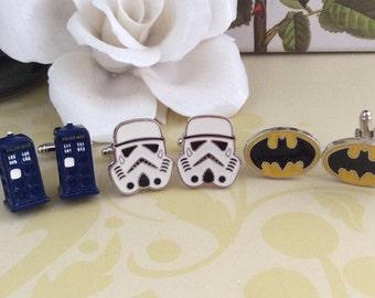 Stormtrooper/ Batman /Tardis Men Cuff Links, Father's Day Gifts, Wedding Gift