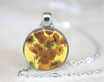 Sunflower Painting Glass Pendant, Van Gogh Art Photo Glass Necklace, Glass Keychain, Glass Jewelry
