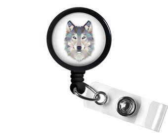 Geometric Wolf Photo Glass/ Bottle Cap Retractable ID Badge Reel