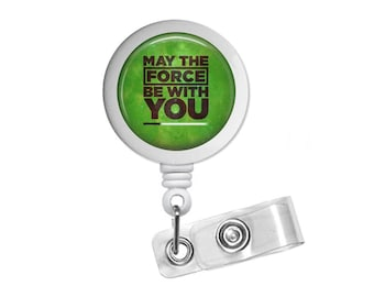 Quote May The Force Be With You Photo Glass / Bottle Cap Retractable ID Badge Reel