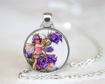 Purple Flower Fairy Glass Pendant, Photo Glass Necklace, Glass Keychain