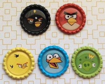 Angry Birds Inspired Bottle Cap Necklace/ Keychain/ Zipper Pull