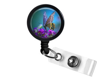 Beautiful Butterfly Photo Glass / Bottle Cap Retractable ID Badge Reel