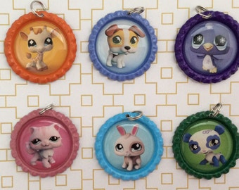 Littlest Pet Shop Inspired Bottle Caps Necklace/Keychain/Zipper Pulls