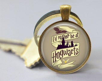 I'd Rather Be At Hogwarts Glass Pendant, Photo Glass Necklace, Glass Keychain
