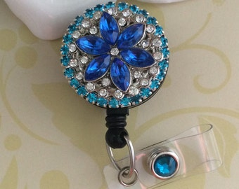 Blue And Clear Rhinestones Crystals Flower Retractable ID Badge Reel